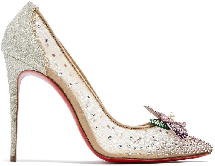 Christian Louboutin Feerica 110 crystal-flower embellished pumps
