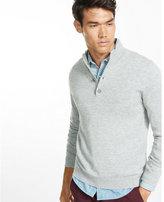 Express merino wool blend button mock neck sweater
