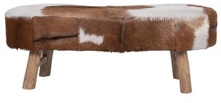 """Overstock 39.25""""W Goat Fur Upholstered Bench with Cowhide Print & Wood Legs"""