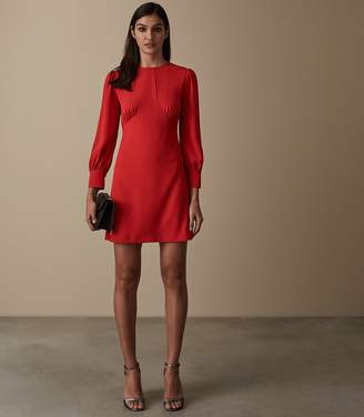 Reiss Analise - Seam Detail Crepe Dress in Red