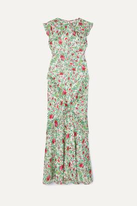 Saloni Tamara Ruffled Floral-print Silk-georgette Maxi Dress - Green