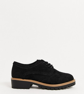 New Look Wide Fit chunky brogues in black