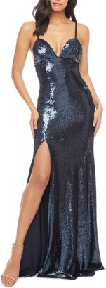Dress the Population Alejandra Slit Sequin Gown