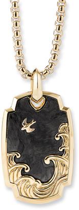 David Yurman Men's Waves Amulet Enhancer with Forged Carbon & 18k Gold