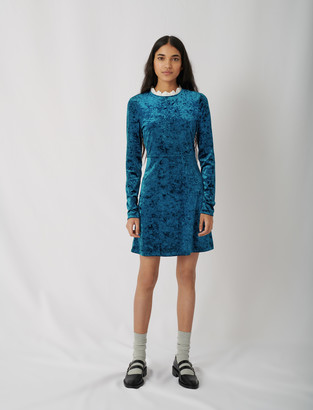 Maje Crushed velvet dress with fancy collar