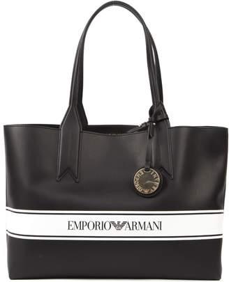 Emporio Armani Black & White Faux Leather Logo Tote Bag