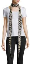 Roberto Cavalli Cheetah-Print Silk & Feather Scarf