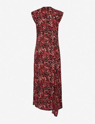 AllSaints Tate ambient-print crepe midi dress