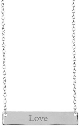 Sterling Forever Sterling Silver Bar Pendant Necklace - Love