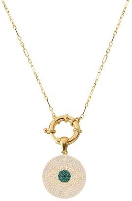 GABIRIELLE JEWELRY 22K Gold Vermeil, White Green Crystal Evil Eye Pendant Necklace