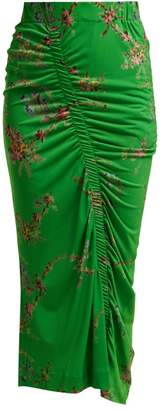 Preen by Thornton Bregazzi Tracy Floral-print Ruched Crepe-jersey Skirt - Womens - Green Multi