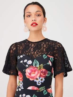 Very Lace Yoke Scuba Prom Dress -Printed