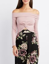 Charlotte Russe Off-The-Shoulder Knotted Crop Top