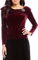 Alex Evenings Velvet Portrait Collar Blouse