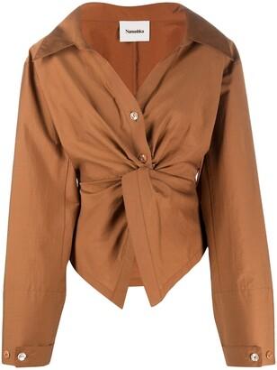 Nanushka Idris ruched long-sleeve blouse