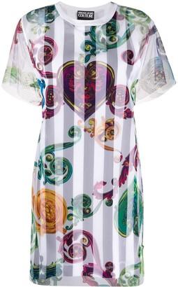 Versace striped filigree print T-shirt dress