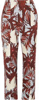 Erdem Syrah Cropped Printed Cotton-canvas Straight-leg Pants - Burgundy
