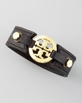 Tory Burch Etched Leather Logo Cuff, Black