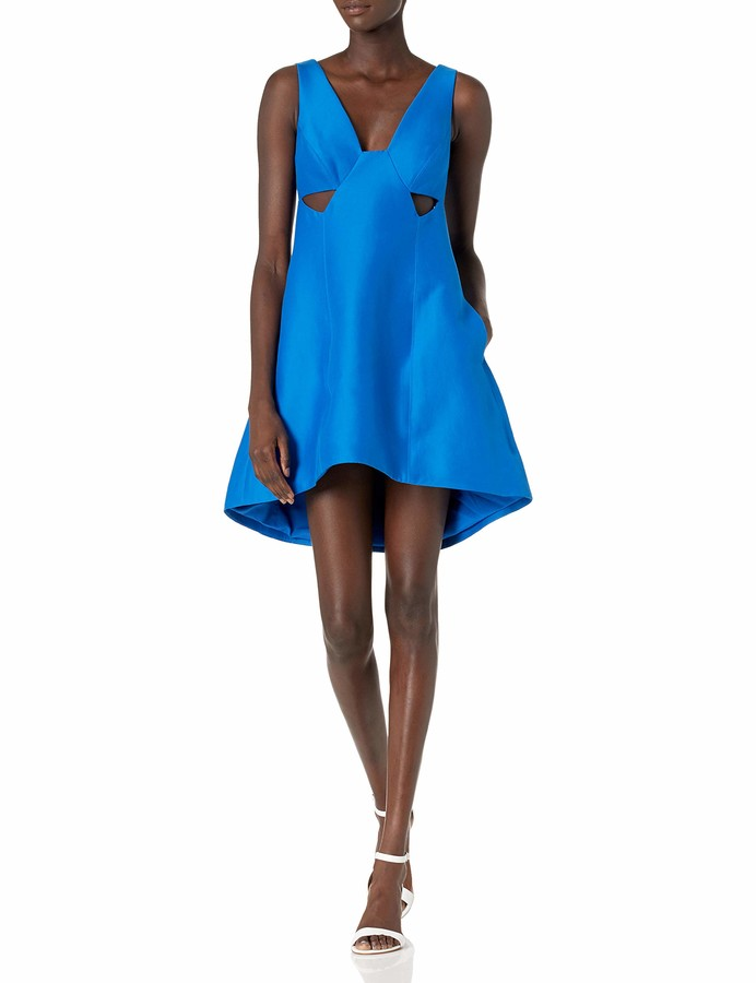 Halston Women's Sleeveless Wide V Neck Silk Faille Dress with Cut Outs