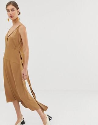 Asos V back dress-Brown