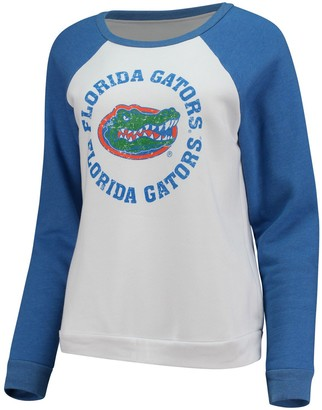 Women's Blue 84 White Florida Gators Cozy Fleece Raglan Crew Pullover Sweatshirt