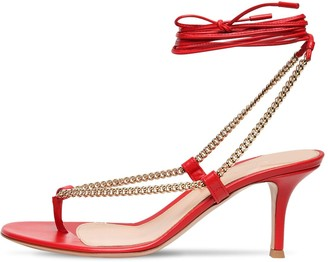 Gianvito Rossi 70mm Chain & Leather Thong Sandals