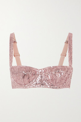 Dolce & Gabbana Sequinned Tulle Underwired Balconette Bra - Pink