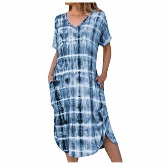 EUCoo Tie Dye Dresses for Women Summer Beach Short Sleeves Dress Casual Midi Dress Side Slits Dress(Light Blue S)