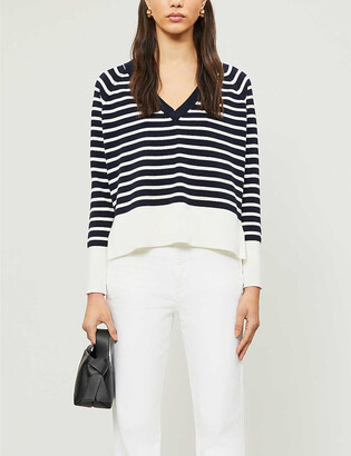 The White Company Reverse Breton V-neck cotton-blend jumper