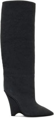 Yeezy Black Canvas Wedge Boots
