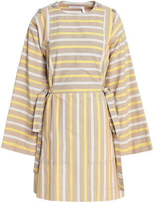 See by Chloe Striped Cotton-canvas Mini Dress