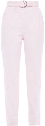 Maje Belted Cotton-twill Tapered Pants