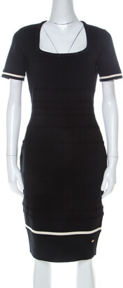 Escada Black Stretch Wool Scoop Neck Sahkyo Bodycon Dress S