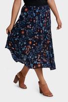 Skirt Long Line Pleated Paisley Print