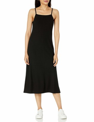 The Drop Women's Leslie Side Slit Strappy Square Neck Loose-Fit Rib Knit Midi Dress