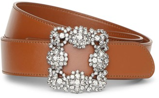 Manolo Blahnik Hangisi brown leather 35mm belt