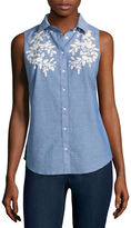 ST. JOHN'S BAY St. John's Bay Relaxed Fit Sleeveless Button-Front Shirt