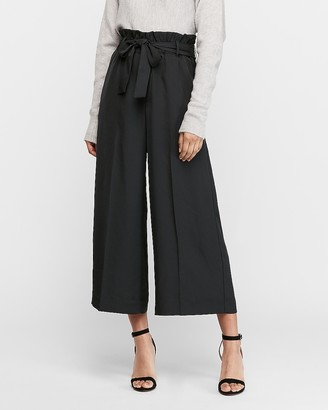 Express Super High Waisted Cropped Wide Leg Paperbag Pant