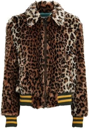 R 13 Leopard Faux Fur Bomber Jacket