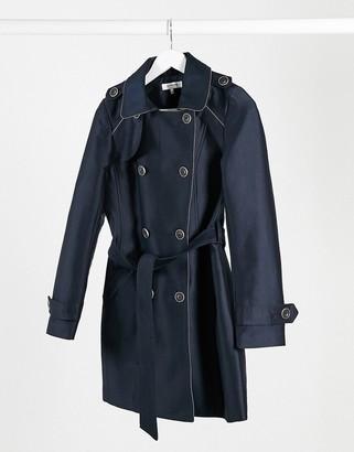 Morgan zip detail double breasted coat with tie belt in navy