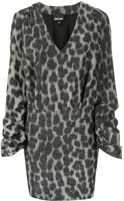 Just Cavalli Animal Print V-Neck Dress