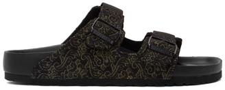 Birkenstock Random Identities Black and Gold Edition Jacquard Arizona Sandals