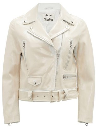 Acne Studios Patent Grained-leather Biker Jacket - White