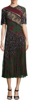 Jason Wu Printed Lace-Inset Pleated Dress, Military/Multi