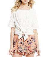 Copper Key Short-Sleeve Tie Front Top