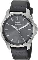 Vestal Quartz Stainless Steel and Leather Casual Watch, Color:Black (Model: HEI393L16.BK)