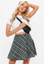 Missguided Green Plaid Checked Skater Skirt