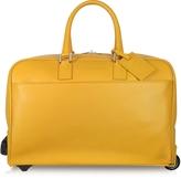 Giorgio Fedon Travel Yellow Leather Rolling Duffle