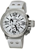TW Steel Canteen TW10 Leather with Zirkonias Case and White Dial 45mm Mens Watch