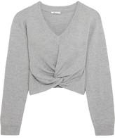 Alexander Wang Twist-front Wool And Cashmere-blend Sweater - Light gray